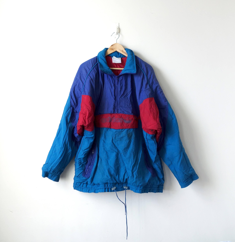 ADIDAS Tracksuit Rare Vintage Adidas Multicolor Windbreaker Jacket Hip Hop Fashion Large Size #524 rrtlD