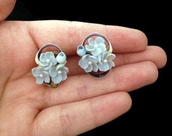 Baby Blue Earrings - Light Blue Earrings - Vintage - Screw Back Earrings - Blue Earrings - Botanical Earrings - Clip On Earrings - Flowers