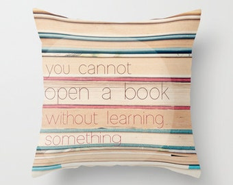 Decorative photo pillow cover- books- book lovers- beige-pink- blue-typography-quote- photography