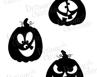 Halloween Images Set of 3 Pumpkin Silhouettes Digital Stamp/ KopyKake Image- F16-HALLOSIL2