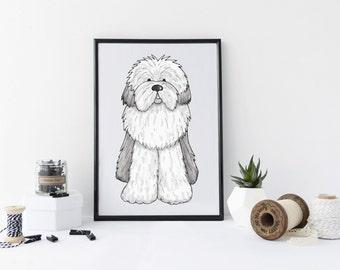 Dog Portrait - Old English Sheepdog Dog Print - pet portrait - old english sheepdog - sheepdog gift - dog print - ideal gift for dog lovers