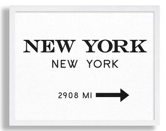 New York City Print Typography Art Print Gift for Him Fashion Art NYC Art Marfa Sign Print Black and White Print