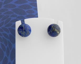 Lapis Lazuli and silver balls earrings