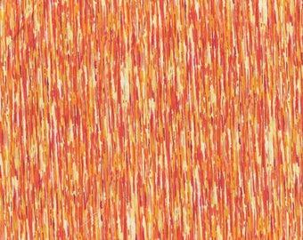 Tissu coton dégradés de fines rayures jaunes et orangés