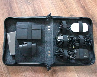 Organizers for cords,SET of 2,  wires, bag, felt bag, organisation, cable and charger, cord organizer, storage