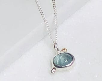 Boho 18k golden and  silver aquamarine skinny necklace