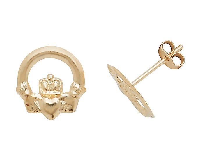 9ct Gold Irish Claddagh 7mm Stud Earrings