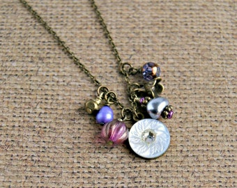 charm necklace, boho jewelry, pearl necklace, beaded necklace, gift for her, under 20, gift for women
