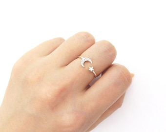 Star and moon ring / Adjustable ring / Sterling silver open ring / Moon silver ring / Star silver ring / Delicate ring / gift box