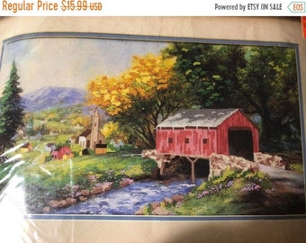 """MAYniaSALE Vintage 1991 Dimensions """"Rural Serenity"""" No Count Cross Stitch kit 18 by 10 inches without mat"""