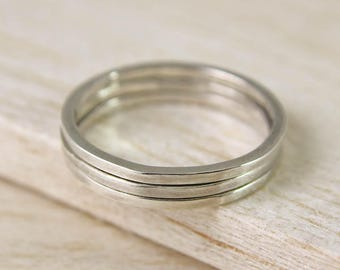 Silver Stacking Ring, Square Band Ring, Minimal Silver Ring, Thin Silver Band, Sterling Silver Stacking Ring, Skinny Ring, Stackable Ring