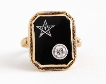 Vintage OES Ring - 14k Rosy Yellow Gold Order of the Eastern Star OEC Diamond Statement - 1930s Size 5 3/4 Black Onyx Masonic Fine Jewelry