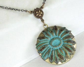 Sunflower Locket Necklace - Patina, Flower Jewelry, Nature Jewelry, Floral Jewelry, Verdigris, Brass Locket