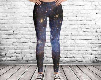 Galaxy Leggings, star leggings, celestial leggings, blue nebula leggings, nerdy leggings, outer space leggings, geek leggings
