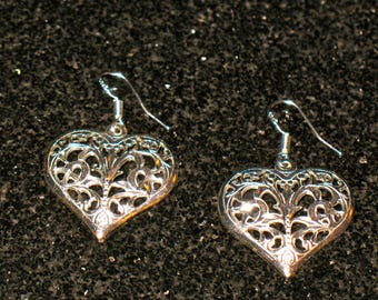 Pressed Sterling Silver Cutaway Heart Drop Earrings 925