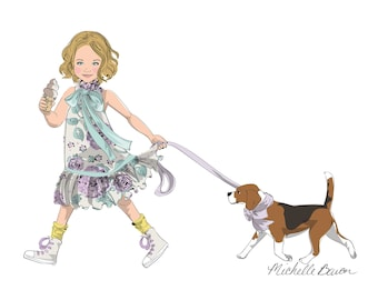 11 by 14 Children's Fashion Illustration Art Print, featuring a little girl walking with her puppy and having an ice cream, Wall Art