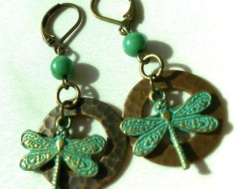 Handmade earrings, Green earrings, Dragonfly earrings, metal earrings, Christmas gift ideas for her, earrings for women, Pinkice Jewels