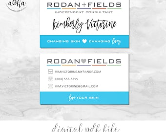 Rodan and Fields Business Card Personalized Digital File | Blue Hearts