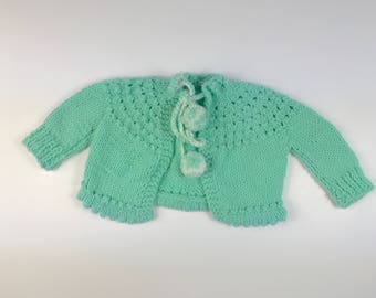 Vintage Mint Green Hand Made Crocheted Cardigan Sweater with Pom Pom ties Size 3-6 Months
