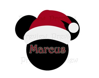 Personalized Santa Mickey Head Iron On Transfer - DIY Christmas Shirt - Personalized Santa themed Door Magnet or Clip Art