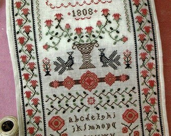 Our Love by Annie Bees Folk Art Counted Cross Stitch Pattern/Chart
