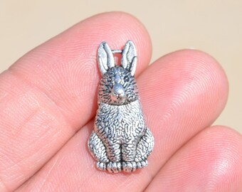 10 Silver Bunny Rabbit Charms SC2047