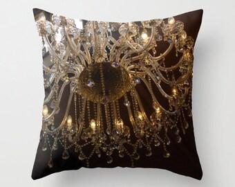 Chandelier pillow, warm ambiance decor, brown chandelier art, living room cushion, antique style pillow, soft furnishing art, romantic light