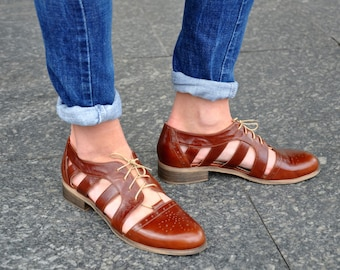 Nassau - Womens Cutout Oxfords, Oxford Sandals, Leather Sandals, Brown Shoes, Oxfords for women, Summer Shoes, Custom, FREE customization!!!