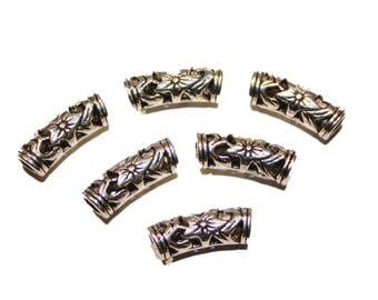 Silver Filigree Tube Beads