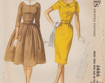 McCalls 5686 / Vintage Sewing Pattern / Shirtwaist Dress With Two Skirts / Size 12 Bust 32 / Unused