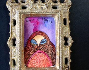 Keeper of Mystery  Framed Original Monster Painting by Megan Noel