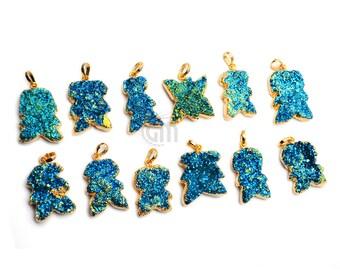 Druzy Pendant, Druzy Gold Pendant, Gold Plated Druzy Pendant, Blue Druzy Pendant, Druzy Locket, GemMartUSA (DE-51015)