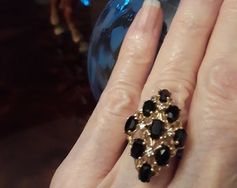14k gold black onyx and diamond size 6 ring