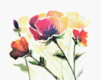 "5x7"" Print of Multi Colour Poppies"