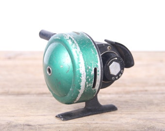 Antique Fishing Reel / Green Johnson Century Bait Casting Fishing Reel / Fishing Decor / Fishing Gift / Old Fishing Reel / Gold Metal Reel