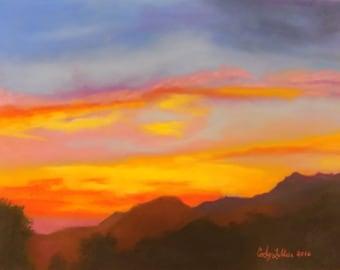 "California Sunset Pastel Giclee Print 9""x12"""
