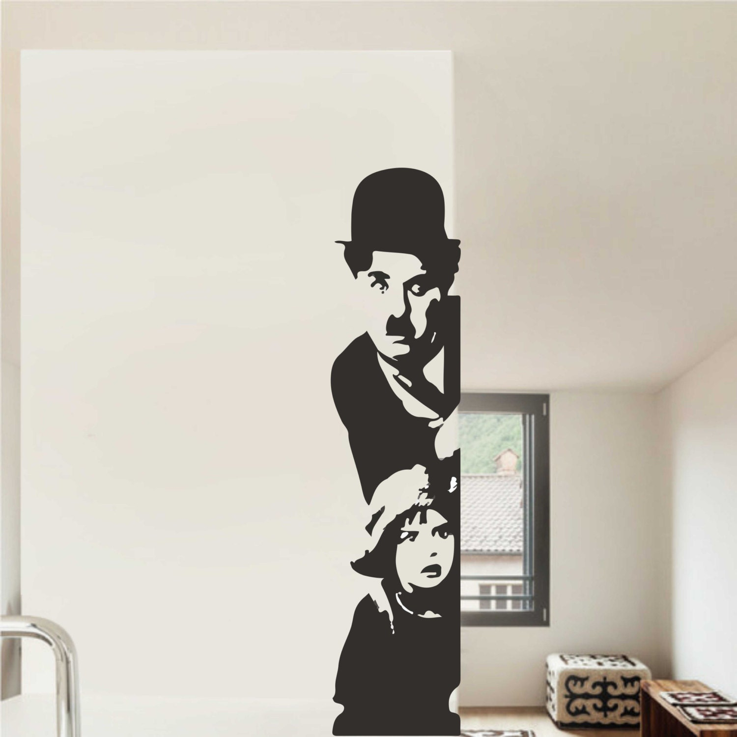 charlie chaplin wall decal home decor famous icons decals. Black Bedroom Furniture Sets. Home Design Ideas