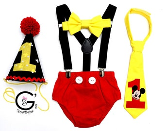 Mickey Mouse 1st Birthday Smash Cake Party Outfit Invitation Photo Prop Bow Tie Hat Baby Toddler Boys Bottoms