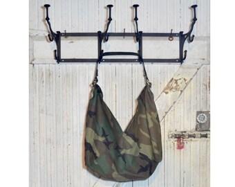Everyday Printed Cotton Bag w/ Leather Handle - Green Camouflage Print - Market Bag - Reusable Bag - Tote Bag - Origami Bag - Size M