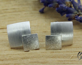 Earrings silver, double square