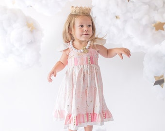 Pink and Gold Dress- Mermaid Dress- Birthday Dress- Girls Party Dress- Little Girls Pink Dress- 1st Birthday Outfit- Mermaid Birthday- Baby