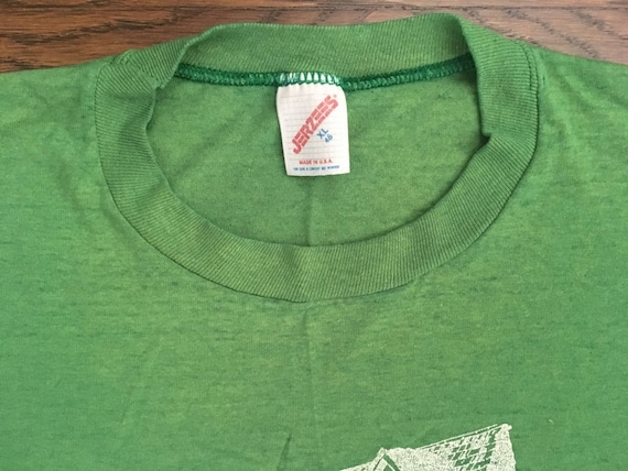 Vintage Neely Bowl T-shirt Green Jerzees Size L