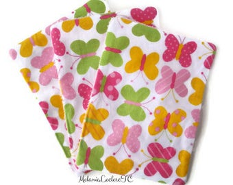 Washable wipes - wipes for baby, BUTTERFLIES - pink yellow green white