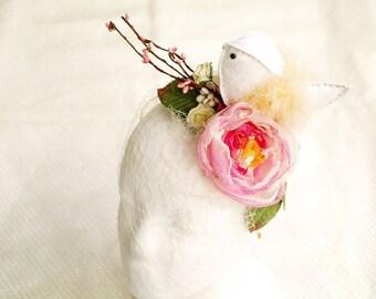 Ivory Bird Fascinator, Spring Flower Headpiece, Woodland Hair Crown, Pink Floral Headband, Festival hair piece, Birdcage Veil With Flowers