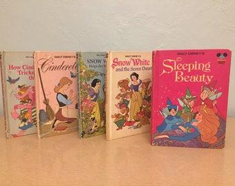 Five 1970s-80s Disney Princess Walt Disney's Wonderful World of Reading Books - Cinderella, Sleeping Beauty, Snow White, Seven Dwarfs, Mice