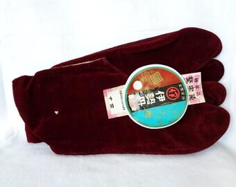 "1532 : Tabi socks,Japanese High quality ""Dark Vermillion"" Velvet Tabi kimono socks,quality sertificate ,size 23.5 ,made in Japan"
