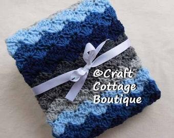 READY to SHIP Crochet Baby Blanket Light Blue Navy Grey Travel / Stroller / Car Seat / Crib Pram Nursery Knit Boy Baby Shower Gift