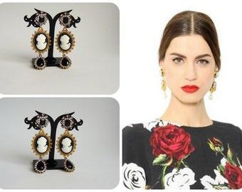 Earrings Dolce Gabbana style - Cameo
