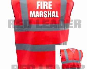 Fire Marshal Printed Red Enhanced Safety Vest Waistcoat Hi Viz/Vis Visibility Workplace/Business