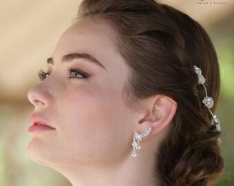 Bridal Earrings, Ear Climber Earrings, Bridal Ear Cuff, Ear Crawlers, Bridal Ear pin, Ear Sweeps, Ear Huggie, Bridal jewelry Crystal Climber